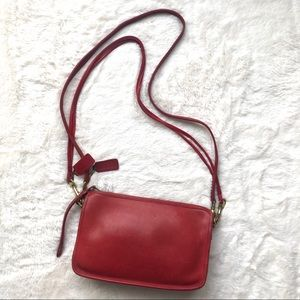 Vintage 60s Coach Red Leather Crossbody Bag